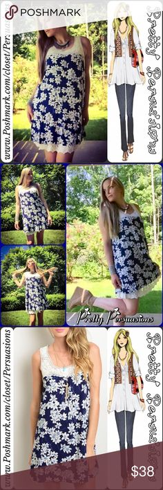 "LAST ONE🌻Navy Ditsy Floral & Crochet Lace Dress NWT Navy & White Ditsy Floral & Crochet Lace Dress  Available in S 🌻 1 SMALL LEFT Measurements taken from a size small  Length: 31"" Bust: 36"" Waist: 42""  100% Rayon   Features  • beautiful lace crochet detailing at bust/neckline • pretty floral print throughout • relaxed flowy fit • soft, breathable material • slip on design  NOTE: White lace dress extender sold separately **  Bundle discounts available No pp or trades  Item #…"