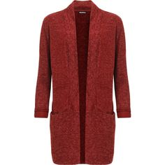 Maren Fleck Knit Open Cardigan (£28) ❤ liked on Polyvore featuring tops, cardigans, red, red knit top, red knit cardigan, knit cardigan, long sleeve tops and red long sleeve top