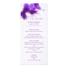 Purple Orchid Wedding Menu 4x9.25 Paper Invitation Card