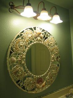 Unique mosaic and seashell mirror.