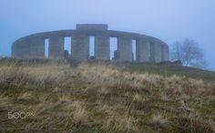 Maryhill Stonehenge - 3 - https://en.wikipedia.org/wiki/Maryhill_Stonehenge  Mayhill Stonehenge War Memorial at Maryhill, WA... in fog, in winter.