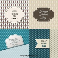 Fathers day cards collection Free Vector