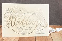 """""""The Wedding Bouquet"""" - Floral & Botanical Foil-pressed Wedding Invitations in Gold by Phrosne Ras."""