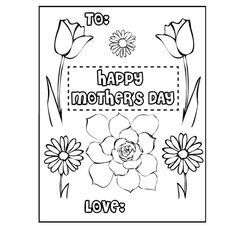 MotherS Day Printable Coloring Card  Printable MotherS Day