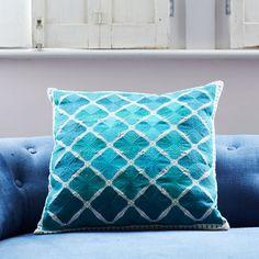 Phulkari Square Cushion In Tonal Turquoise