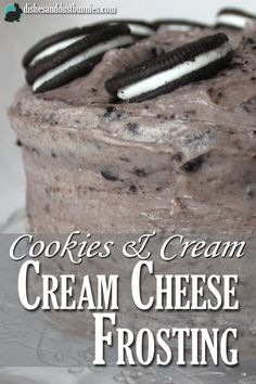 Cookies and cream cream cheese frosting made with Oreo cookies is so simple to make and is it ever good! from dishesanddustbunnies.com
