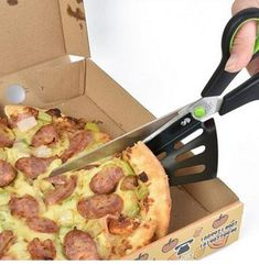 Professional Pizza cutters Stainless Steel Pizza Scissors Slice 2 in 1 Cutter Server Pizza Cutting green. Click visit to buy #Bakeware