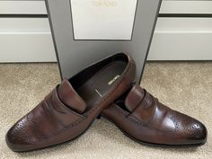 Tom Ford Edgar Burnished Brown Brogue Loafer Shoes 10.5T Uk 9.5 Rrp £1190 🇮🇹 · $350.00 Loafer Shoes, Loafers Men, Tom Ford Shoes, Brown Brogues, Shoe Deals, Grid, Toms, Dress Shoes, Moccasin Boots