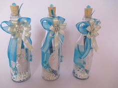 Decorac-de-15-años. Quinceanera Decorations, Frozen Party, Recycled Art, Bottle Art, Art Decor, Mason Jars, Glass Vase, Baby Shower, Communion