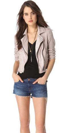 Mauve Moto Jacket idea: jeans + longer top