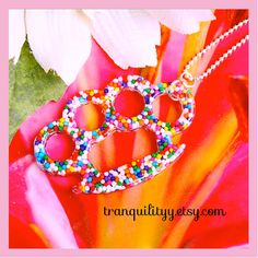 Sprinkle Knuckle Necklace Crushed Candy Real by tranquilityy