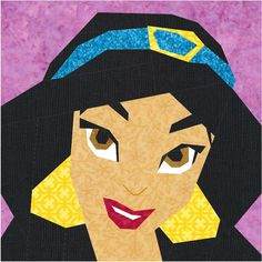 Disney Princess Jasmine paper piecing quilt pattern.  misha29.com