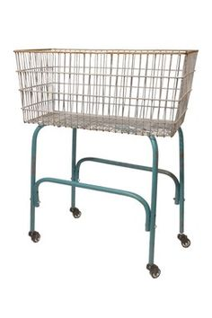 Metal Laundry Cart with Wheels.