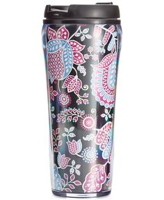 """Haute style meets hot drink. Keep your beverages warm & toasty (or icy cold) in this pretty insulated travel mug from Vera Bradley.   Imported   Holds 16 oz.   Plastic   Dimensions: 8"""" H x 3-1/4"""" W  """