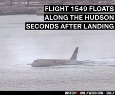A security camera captures Flight 1549 seconds after landing on the Hudson River. See pics of the real people behind the Sully movie characters: http://www.historyvshollywood.com/reelfaces/sully/