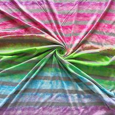 The Fabric Fairy Rainbow and Grey Tie Dye Stripe Knit Fabric