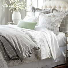 With our Jardin Toile Bedding, you can sleep in a lush garden blooming with one of our favorite motifs. The gray Duvet is hand-finished in dreamy cotton. Farmhouse Bedding Sets, Farmhouse Master Bedroom, Toile Bedding, Chic Bedding, Grey Duvet, Linen Duvet, Grey Home Decor, Bedding Master Bedroom, Guest Room Office