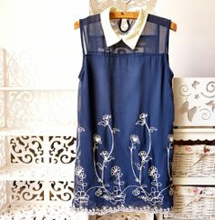 2013 Vintage Chiffon embroidery Sleeveless vest tank tops