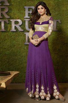 Stylish Shilpa Shetty Georgette Violet Anarkali Suit