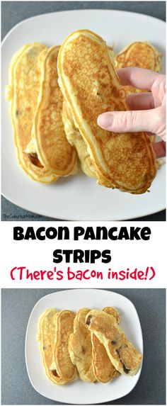 If you love bacon with your pancakes, you are going to love bacon IN your pancakes! Bacon pancake strips are a fun way to turn breakfast into a finger food.