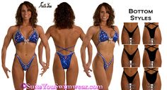 Figure Suit / Physique Competition suit, royal blue fabric with lots and lots of Swarovski crystals.