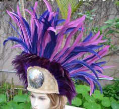 Purple long coque feather Tahitian headdress by ISLANDMANA on Etsy, $195