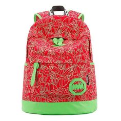 Design-Print Durable Nice Quality Canvas Girl's Backpack 5 Colors