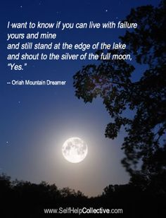"I want to know if you can live with failure | yours and mine | and still stand at the edge of the lake | and shout to the silver of the full moon,| ""Yes"". - The Invitation by Oriah Mountain Dreamer"