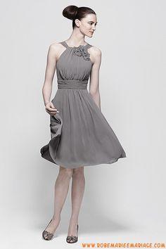 Robe courte col montant 2013 grise plissé robe de soirée m...