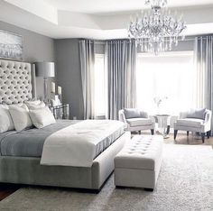 One of the reasons why you need some new master bedroom ideas is because that you might feel bored with your old bedroom design. It's understandable because the bedroom is the room where you may spend… Master Bedroom Design, Home Decor Bedroom, Luxury Master Bedroom, Master Bedroom Chandelier, Beds Master Bedroom, Bedroom Curtains, Bedroom Chandeliers, Simple Bedroom Design, Luxury Bedroom Design