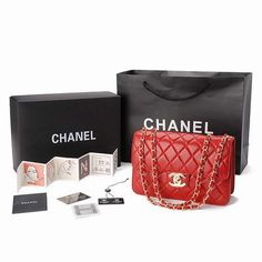 Chanel 2.55 Bags 002 Red Lambskin With Gold Chain