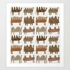 Buy Funny camels Art Print by sofinaydenovashop. Worldwide shipping available at Society6.com. Just one of millions of high quality products available.