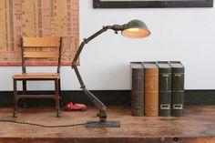 "Vintage Industrial ""American Fixture Company"" Desk Lamp/ Light w/ Steel Base - 1920s"