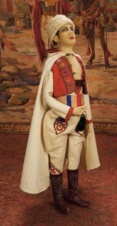 Curtain Call- The Collection of Billie Nelson: 22 An All-Original Cloth Portrait Doll of Valentino as The Sheik