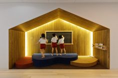 OB Kindergarten and Nursery / HIBINOSEKKEI + Youji no Shiro  art activities is important element to grow the sensibility. By providing a glazed special room that is easy to see and understand then children can concentrate even more interested.