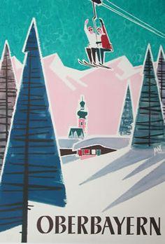 Oberbayern ski poster Max Hartl, ca. 1955