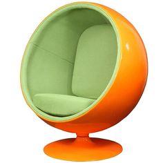 $799.00 | Futuristic Furniture, LexMod Eero Aarnio Style Ball Chair In  Orange Exterior With Green