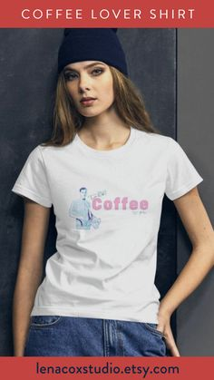 The coffee shirt, expression tee, features a cute retro mod guy saying Talk Coffee to Me. The vintage graphic tee for women is a perfect gift for the coffee lover, barista, cheer mom, or caffeine addict in your life. Give the shirt as a 40th birthday gift for her or Mother's Day present.  The graphic tee is 100% cotton and pre-shrunk to make sure your size is maintained throughout several washes, and a classic fit.   #coffee #coffeelover #christmasgift #retroshirt Gifts For New Parents, Gifts For Your Mom, Cheer Mom Shirts, Retro Shirts, Coffee Lover Gifts, Tees For Women, Shirts For Teens, Cute Tshirts, T Shirts With Sayings