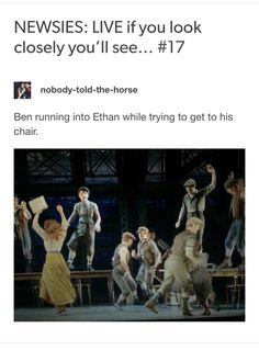 NEWSIES: LIVE  if you look closely you'll see #17 Credits: nobody-told-the-Horse //tumblr