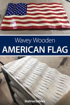 Make a wooden wavey American Flag out of 2x4s. Instructables #woodshop #workshop #woodworking #woodart #decoration