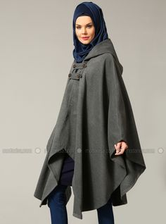 Shop Hooded Poncho - Gray in Ponchos category. Modanisa your online muslim modest fashion store. Grey Poncho, Hooded Poncho, Modest Outfits, Cute Outfits, Abaya Pattern, Hijab Chic, Cape Coat, Abaya Fashion, Mode Hijab