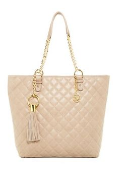 Leather Large Quilted Tote