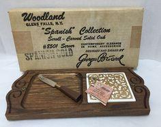 Georges Briard Cheese Tray Cutting Board Knife Oak Wood Box Spanish Gold Vintage