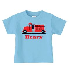 Personalized Firetruck tshirt for boys fireman by PricelessKids, $16.99