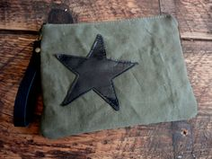 MILITARY STAR POUCH Army & Leather Bag Clutch Wristlet  Wallet Mini Ipad by TnBCdesigns on Etsy https://www.etsy.com/listing/220070349/military-star-pouch-army-leather-bag