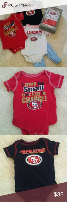 SF 49ers NFL baby boy clothes,  shoes,  bib set Only NFL bib and prewalkers set is brand new with tags,  red onesie is new without tags,  black onesie and white and blue pants are gently used. All 0-3 mos. Prefer to sell as set, will consider individual offers. nfl Matching Sets