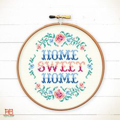 Home sweet home cross stitch pattern punto cruz modern Home DIY ideas Home Stitch Pattern Cool cross-stitch sample - Home sweet home flowers Funny Cross Stitch Patterns, Home Flowers, Cross Stitch Samplers, Trendy Home, Diy On A Budget, Charts, Sweet Home, Free Pattern, Embroidery