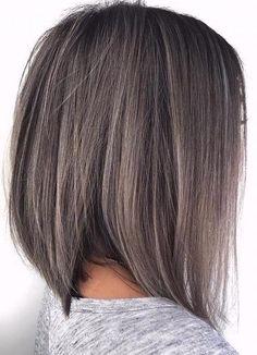 Dark Grey Hair Color, Grey Wig, Brown Hair Colors, Color Blue, Ash Grey, Hair Colour, Angled Bob Haircuts, Choppy Bob Hairstyles, Straight Hairstyles