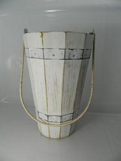 Vintage Bucket Distressed White Wood Bucket by 3sisterstreasures, $15.99