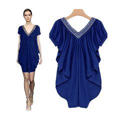 v-neck beading dress